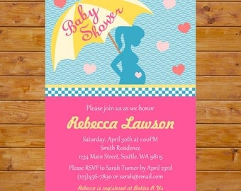 Baby Bump Baby Shower Invitation, Umbrella Baby Shower Invitation with Pregnant Silhouette, Gender Neutral - Printable, Custom Digital File