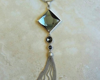 Square Crystal Pendant Tassel Silver Necklace 28-30 Inches