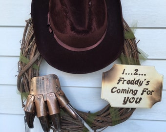 Halloween Wreath, Freddy Krueger wreath, halloween decor, nightmare on elm street, freddy krueger
