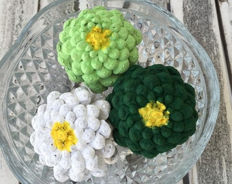 Zinnia painted pinecones, zinnia flowers, green with envy, St. Pattys day decoration, green flowers, white flowers, floral arrangement,