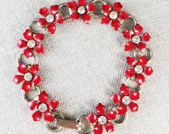 Vintage Red Flower or Daisy Bracelet with Rhinestone Centers and Silver Tone Links