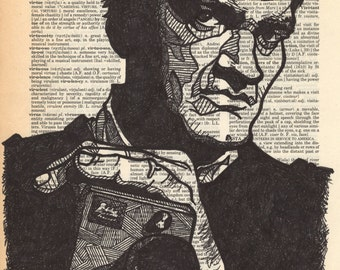 Quentin Tarantino Portrait on a Dictionary Page