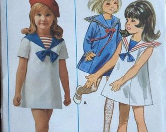Butterick 5257 Sailor Dress Girls size 4 Bust 33