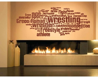 Wall Vinyl Sticker Room Decal wrestling jiu jitsu greco roman freestyle bo3161