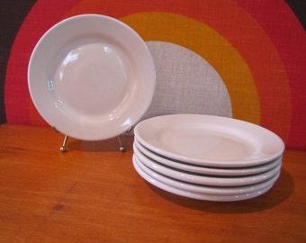 """Homer Laughlin White Restaurantware, 6 pc. set - 6 - 7"""" Salad Plates, Mid Century Modern"""