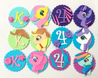 """my little pony cupcake toppers 12pcs 2.5"""" edible fondant decorations topper favors horse birthday theme party favors"""