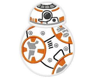 Character Inspired Star Awakens BB8 Eight Embroidery Applique Design