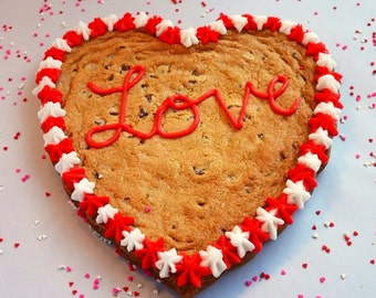 Heart Shaped Cookie, Chocolate Chip Cookie, Giant Heart Cookie, Homemade Cookies, Gourmet Cookie Cake, Valentine's Day Gift, Giant Cookie