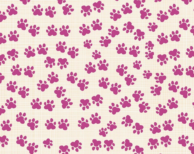 Hotdogs & Cool Cats by Windham - Fuchsia Paws - Organic Cotton Woven Fabric
