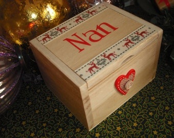 Christmas Eve Box/Christmas Gift Box. Make your Nan feel really special with this handcrafted little wooden trinket box, make her special..