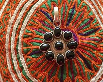 Black Onyx Pendant-Sterling Silver Pendant-Handmade Vintage Pendant-Ethnic-Hippy-Gypsy-LV75