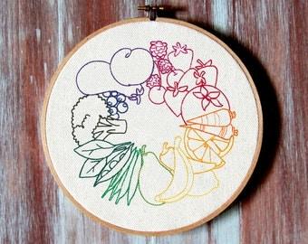 """Fruit & Veggie Wheel Embroidered Hoop Art-Eating Hoop Art-Embroidered Wall Hanging-Home-Kitchen Decor-7"""" Hoop Art"""