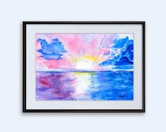 Print Landscape Sea Pink Sunset Watercolor Art Digital Download charming nature sky clouds Wall Decor poster downloadable Art inspiration