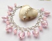 Pink Heart Charm Bracelet Rose Quartz Bracelet Heart Bracelet Rose Quartz Beads Lampwork Glass Hearts Silver Heart Charm Boho Gypsy
