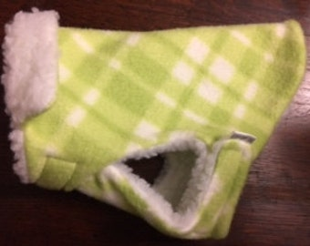 "MICRO Dog Coat ""Mac Jac"" Teacup Size Apple Green Plaid"