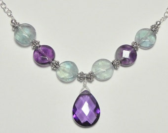 Fluorite and Crystal Sterling Necklace