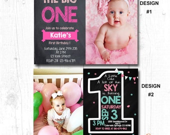 GIRLS FIRST BIRTHDAY Party Invitation, Girls 1st Birthday Party Invitation, Girls First Birthday Invitation, Girls 1st birthday Invitation