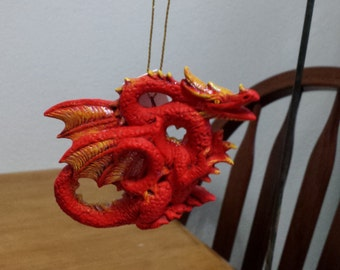Ceramic Dragon Ornament (#434)-Bright red with yellow and a little glitter