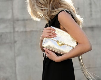 Gold Fringe Clutch