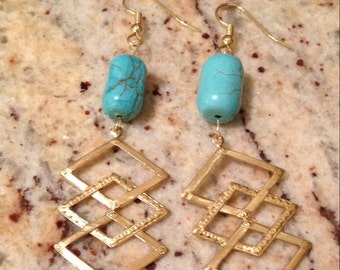 Gold geometric with howlite bead