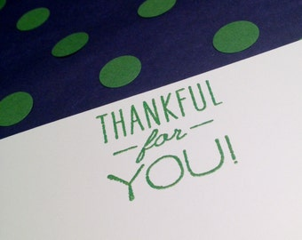 Thankful For You/Thank You Notes and Envelopes - Green and White - Set of 8