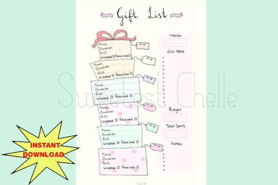 Cute printable a5 page gift list gift list tracker gift for Birthday gift list template