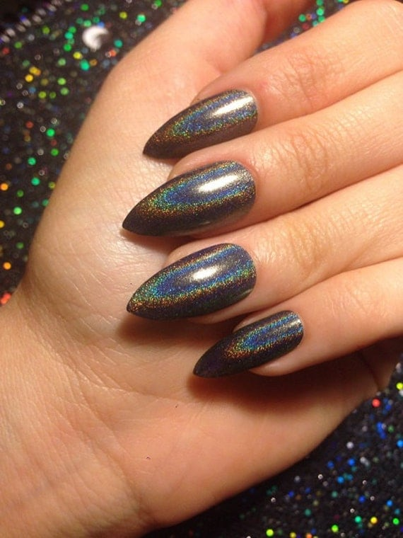 Holographic Nails: Holographic Black False Nails CHOOSE YOUR SHAPE Set Of 20