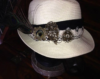 psy trance goa decorated white fedora hat