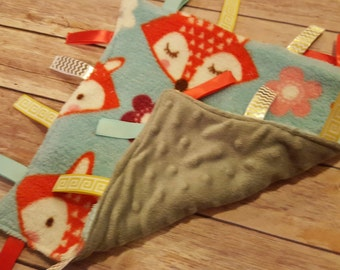 Sensory baby blanket, baby blanket with tags, security blanket, ribbon blanket, baby gift - Fox