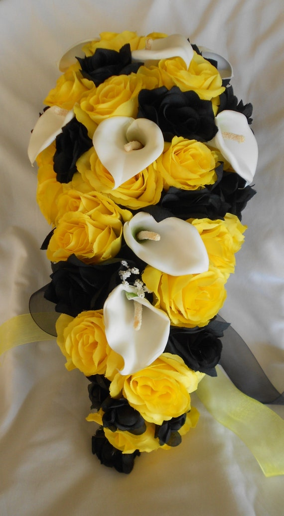 Yellow and black cascading silk bridal bouquet 17 pieces roses