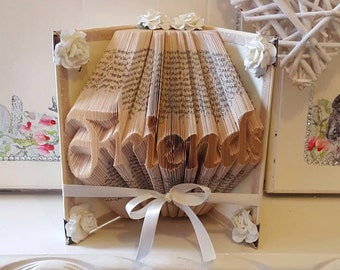 Cream Friends Book Folded as Art with soft cream ribbon and flowers. Silver Tone Corners. Christmas Friendship Gift.