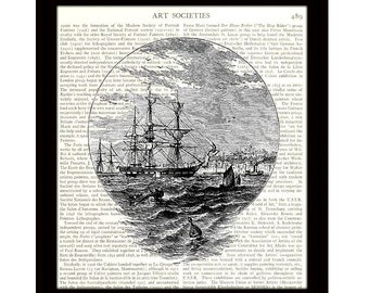 Nautical Art Print, 8 x 10 Dictionary Art Print, 18th Century Sailing Ship, Upcycled Vintage Book Page, Ready to Frame - Item 434