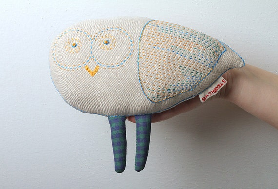 items similar to stuffed owl designer hand embroidered