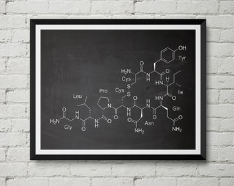 Oxytocin Molecule Print - Love Hormone, Vintage, Chalkboard, Blueprint, Poster, Wall Decor, Wall art, Cool Gift!