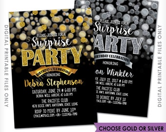"Surprise Birthday Party Invitation, Black and Gold or Black and Silver Bokeh, Glitter, Surprise Party, 5x7"" Digital Printable file"