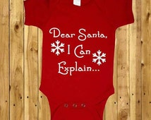 Dear Santa, I Can Explain, Kids Christmas Outfit, Girls Xmas Babygrow, Kids Snowflake Vest, Funny Baby Rompers, Naughty Christmas Gift