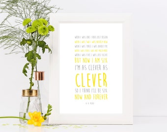 Now We Are Six / A.A. Milne / Poetry / Winnie The Pooh / Typography / Art / Print A4