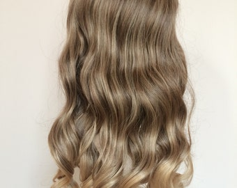 One Piece Clip in Dip dye Ombre Hair Extensions Synthetic Straight Curly Wavy (Col. Ash brown to sandy blonde)