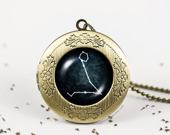 Pisces Constellation Necklace bronze silver vintage locket wish photo pendant necklace sweet whimsical dream Zodiac Constellation Stars