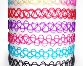 Tattoo Choker Black Red Purple Pink Blue Rainbow Elastic Henna Stretch Necklace 80s 90s Retro Vintage Classic