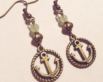 Earrings anchor dew bronze