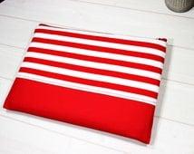 Macbook Pro case, 15 inch laptop case, Pro Retina sleeve, nautical laptop case, red stripe sleeve, zippered laptop case, Macbook sleeve 15