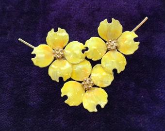 Vintage Yellow Enamel Flower Trio Brooch