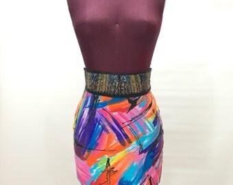 Vtg Abstract XS S Tube Skirt Club Kid Raver Neon