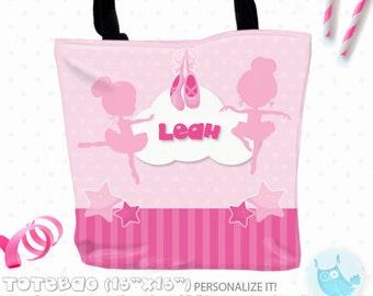 SALE ballerina Personalized Tote Bags, custom Tote bag, kids tote, school tote, kindergarten tote, beach tote bag, Tote Bags TB132