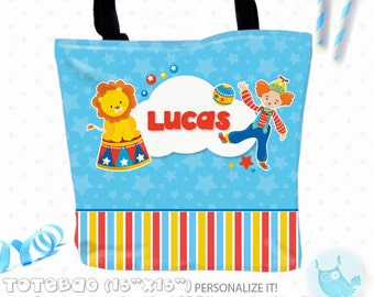 SALE circus Personalized Tote Bags, custom Tote bag, kids tote, school tote, kindergarten tote, beach tote bag, Tote Bags TB137