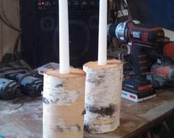 White birch candle stick holders