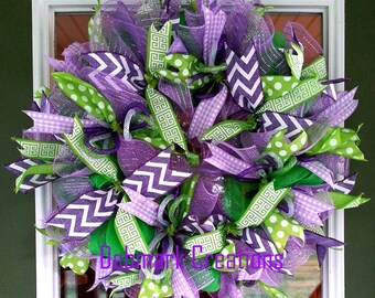 Front door wreath, Summer wreath, Screen door wreath, Slim wreath, Purple and green wreath, Mesh wreath