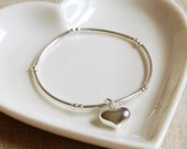 Sterling Silver Bracelet with Silver Heart Charm (BRA108)  Bridesmaid Birthday Anniversary Valentines Gift