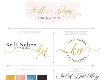 Photography logo package, premade  gold and watercolor logo design, custom watermark business logo PM035